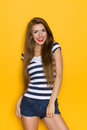 Smiling Woman With Long Brown Hair Stock Photos - 62033713