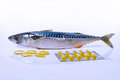 Fish Oil Capsules And Fish Mackerel (on White Background) Stock Images - 62035324