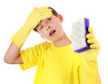 Kid With Bath Sponge Royalty Free Stock Photos - 62036518