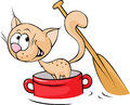 Cat Sails In A Red Pot And Paddle Tail - Vector Royalty Free Stock Image - 62050776