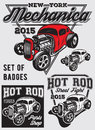 Set Of  Badges With Hot Rod Royalty Free Stock Photos - 62065998