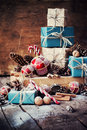 Holiday Christmas Gifts With Boxes, Twine, Balls, Fir Tree Toys Royalty Free Stock Image - 62074966