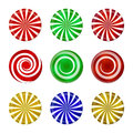 Christmas Striped Candy Set. Spiral Sweet Mint Goody With Stripes. Vector Illustration  On A White Background. Royalty Free Stock Photography - 62080127