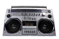 1980s Silver Retro Ghetto Radio Boom Box Isolated On White Royalty Free Stock Images - 62081369
