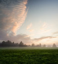 Misty Meadow At Dawn Royalty Free Stock Images - 62083179