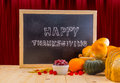 Happy Thanksgiving Word Cloud On A Vintage Slate Blackboard. Stock Photos - 62085563