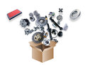 Many Spare Parts Flying Out Of The Box Royalty Free Stock Images - 62088869