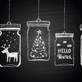 Chalk Drawn White Horizontal Border With Christmas Tree, Clouds, Text, Snow And  Deer In A Jar. Happy New Year Theme. Stock Photo - 62089200