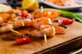 Cooked Shrimp On Skewers Royalty Free Stock Photography - 62099617