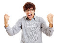 Guy Celebrating Win Royalty Free Stock Photography - 62102257