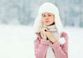 Portrait Beautiful Woman Wearing A Sweater And Hat Over Winter Stock Image - 62103451