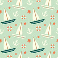 Cute Colorful Sailboat Seamless Pattern With Anchor And Lifebuoy Background Illustration Stock Photo - 62104120