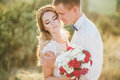 Young Happy Just Married Couple Posing On The Top Of The Mountain Stock Photography - 62107812