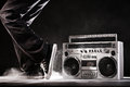 Retro Ghetto Boom Box, Dust And Dancer Isolated On Black With Cl Royalty Free Stock Photography - 62107827