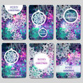 Set Of 6 Colorful Merry Christmas And Happy New Year Polygonal Background With Snowflakes, Stock Photo - 62143180