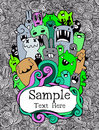 Vector Illustration Of Monsters And Cute Alien Royalty Free Stock Photography - 62143977