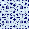 Seamless Vector Pattern With Elements Of Blue Kitchen Utensils Stock Images - 62174704