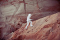 Futuristic Astronaut On Another Planet, Image With Stock Photo - 62177340