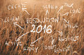 New Year Resolution 2016 Goals Written On Field Of Wheat Ready To Be Harvested. Sunset Wheat Field Stock Images - 62181984