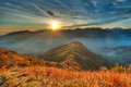 Warm Sunset An Alpine Valley Royalty Free Stock Image - 62183246