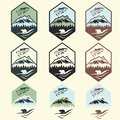 Vintage Fishing Camp Labels With Salmon And Bear Stock Photography - 62184392