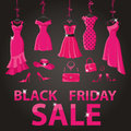 Black Friday Sale.Pink Party Dresses,accessories Royalty Free Stock Image - 62190636