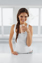 Diet Concept. Happy Healthy Woman With Glass Of Water. Drinks. L Stock Photos - 62192553