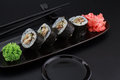 Premium Quality Sushi Rolls With Ginger Wasabi And Soy Sauce Royalty Free Stock Image - 62204386