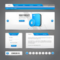 Website Design Elements Grey Blue Gray On Dark Background: Buttons, Form, Slider, Scroll, Carousel, Icons, Menu, Navigation Royalty Free Stock Image - 62215726