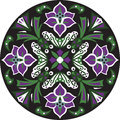 Vector Oriental Traditional Lotus Flower Circular Pattern Royalty Free Stock Images - 62230389