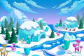 Illustration: The Eskimo Igloo Town. The Bridge, The Ice River, The Ice Mountain, The Ice Flowers, The Green Pine Trees. Royalty Free Stock Image - 62234716