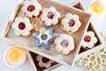 Traditional Czech Christmas - Sweets Baking - Linzer Biscuits Stock Photos - 62235323