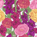 Floral Seamless Pattern With Violet And Purple Gladiolus Flowers, Crimson And Yellow Roses Royalty Free Stock Photo - 62242225