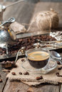 Espresso Glass Cup With Coffee Bean Stock Photos - 62243503