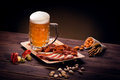 Mugs Of Beer With Snacks Royalty Free Stock Photography - 62254387