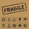 Packaging Symbols On Cardboard. Vector Icons Royalty Free Stock Images - 62280709
