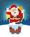 Santa Claus, Snow, Chimney And Full Moon At Night For Your Design Vector Illustration Royalty Free Stock Image - 62282686