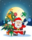 Santa Claus, Snow, Christmas Tree And Full Moon At Night For Your Design Vector Illustration Stock Images - 62286044