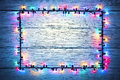 Lights Garland Colorful Wood Frame, Holiday Color Light Sign Royalty Free Stock Image - 62291176