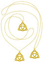 Golden Trinity Pendant Isolated Necklace Stock Image - 62292501