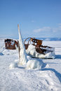Old Frozen Ship On The Bank Of Olkhon Island On Siberian Lake Ba Royalty Free Stock Photos - 62294068