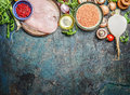 Chicken Breast, Red Lentil, Fresh Vegetables And Various Ingredients For Cooking On Rustic Background, Top View. Horizontal Border Royalty Free Stock Image - 62296456