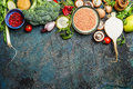 Variety Of Vegetables, Red Lentil And Ingredients For Healthy Cooking On Rustic Background, Top View, Horizontal Border. Stock Photos - 62296923