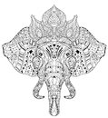 Elephant Head Doodle On White Vector Sketch. Stock Image - 62297221