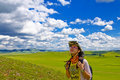 Happy Girl On Meadow,sky Royalty Free Stock Images - 6231449