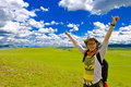 Happy Girl On Meadow,sky Stock Photos - 6231463