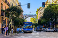 A Bus Going Up Calle Segovia In Madrid Royalty Free Stock Image - 62302526