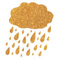 Shining Golden Glitter Cloud With Rain Drops Stock Images - 62312534