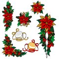 Collection Of Christmas Images. Christmas Decoration, Flower, Ornaments. Royalty Free Stock Photography - 62318977
