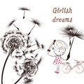 3)Background With Dandelion, Bicycle And Little Girl Girlish Dr Stock Images - 62328554